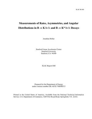 Primary view of object titled 'Measurements of Rates, Asymmetries, and Angular Distributions in B -> K l+ l- and B -> K* l+ l- Decays'.