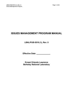 Primary view of object titled 'ISSUES MANAGEMENT PROGRAM MANUAL'.
