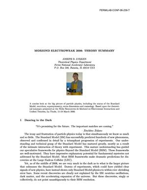 Primary view of object titled 'Moriond Electroweak 2006: Theory summary'.