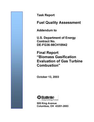 "Primary view of object titled 'Addendum to Final Report ""Biomass Gasification Evaluation of Gas Turbine Combustion""'."