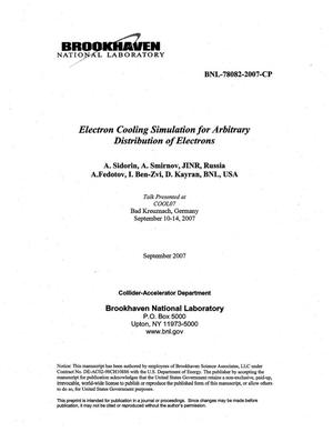 Primary view of object titled 'ELECTRON COOLING SIMULATION FOR ARBITRARY DISTRIBUTION OF ELECTRONS'.