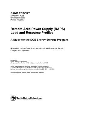 Primary view of object titled 'Remote Area Power Supply (RAPS) load and resource profiles.'.