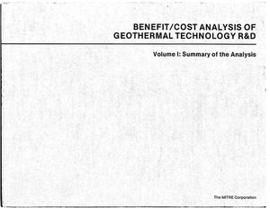Primary view of object titled 'Benefit/Cost Analysis of Geothermal Technology R&D. Volume I. Summary of the Analysis'.