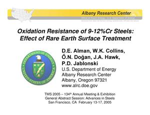 Primary view of object titled 'Oxidation resistance of 9-12% Cr steels: effect of rare earth surface treatment'.