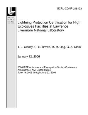 Primary view of object titled 'Lightning Protection Certification for High Explosives Facilities at Lawrence Livermore National Laboratory'.