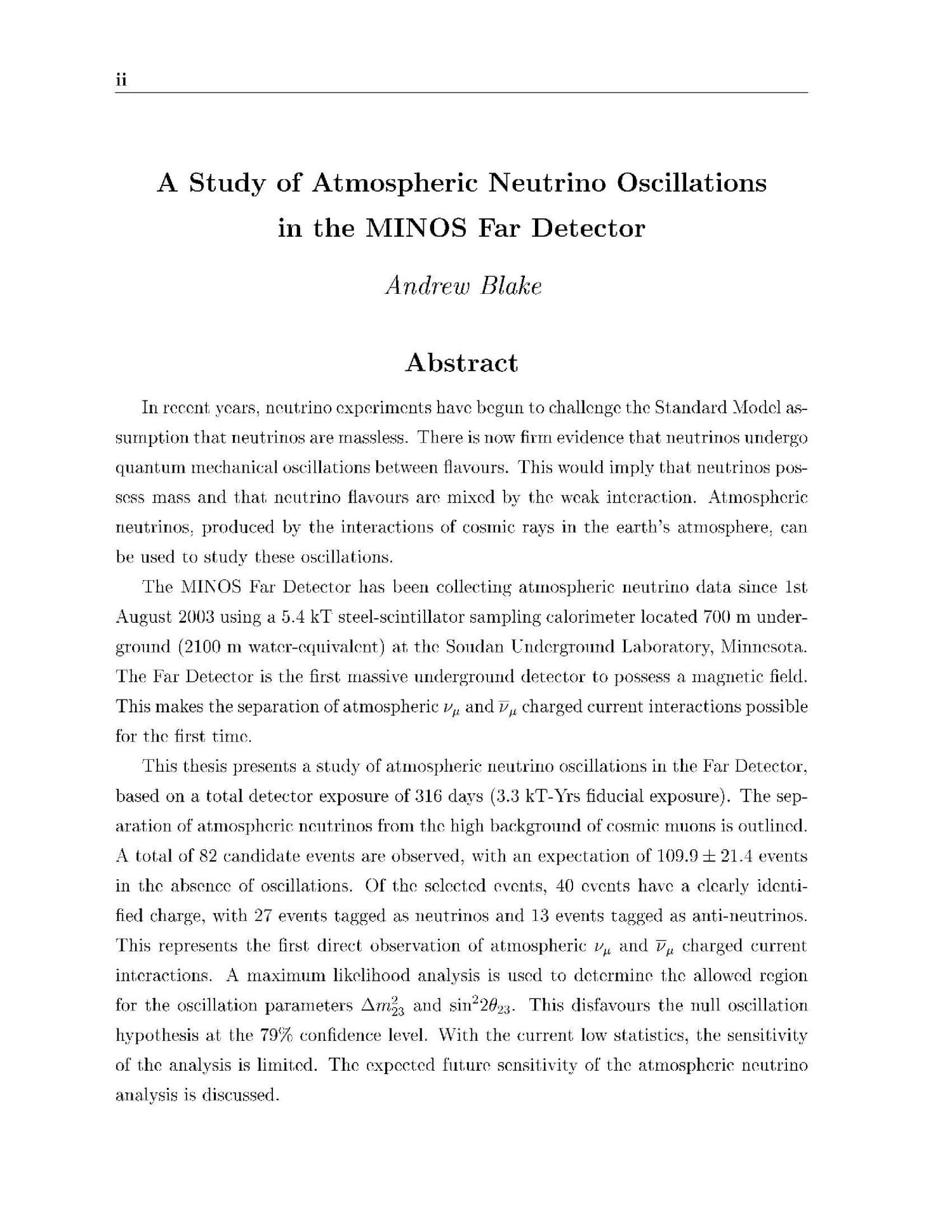 A study of atmospheric neutrino oscillations in the MINOS far detector                                                                                                      [Sequence #]: 2 of 257