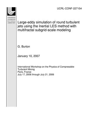 Primary view of object titled 'Large-eddy simulation of round turbulent jets using the Inertial LES method with multifractal subgrid-scale modeling'.