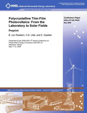 Primary view of object titled 'Polycrystalline Thin Film Photovoltaics: From the Laboratory to Solar Fields; Preprint'.