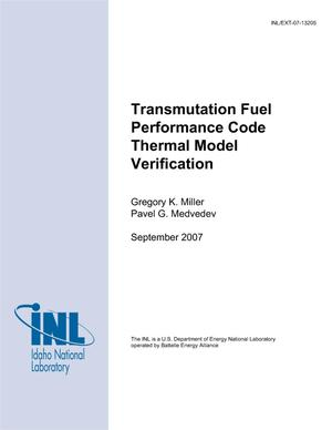Primary view of object titled 'Transmutation Fuel Performance Code Thermal Model Verification'.