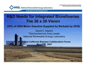 Primary view of object titled 'R&D Needs for Integrated Biorefineries: The 30x30 Vision (Presentation)'.