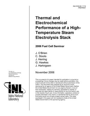 Primary view of object titled 'Thermal and Electrochemical Performance of a High-Temperature Steam Electrolysis Stack'.