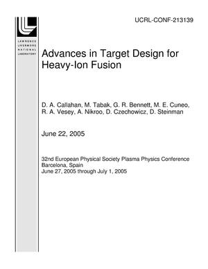 Primary view of object titled 'Advances in Target Design for Heavy-Ion Fusion'.