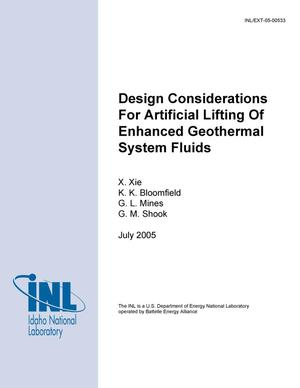 Primary view of object titled 'Design Considerations for Artificial Lifting of Enhanced Geothermal System Fluids'.