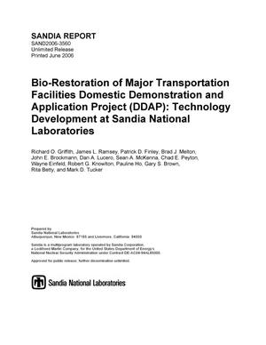 Primary view of object titled 'Biological restoration of major transportation facilities domestic demonstration and application project (DDAP): technology development at Sandia National Laboratories.'.