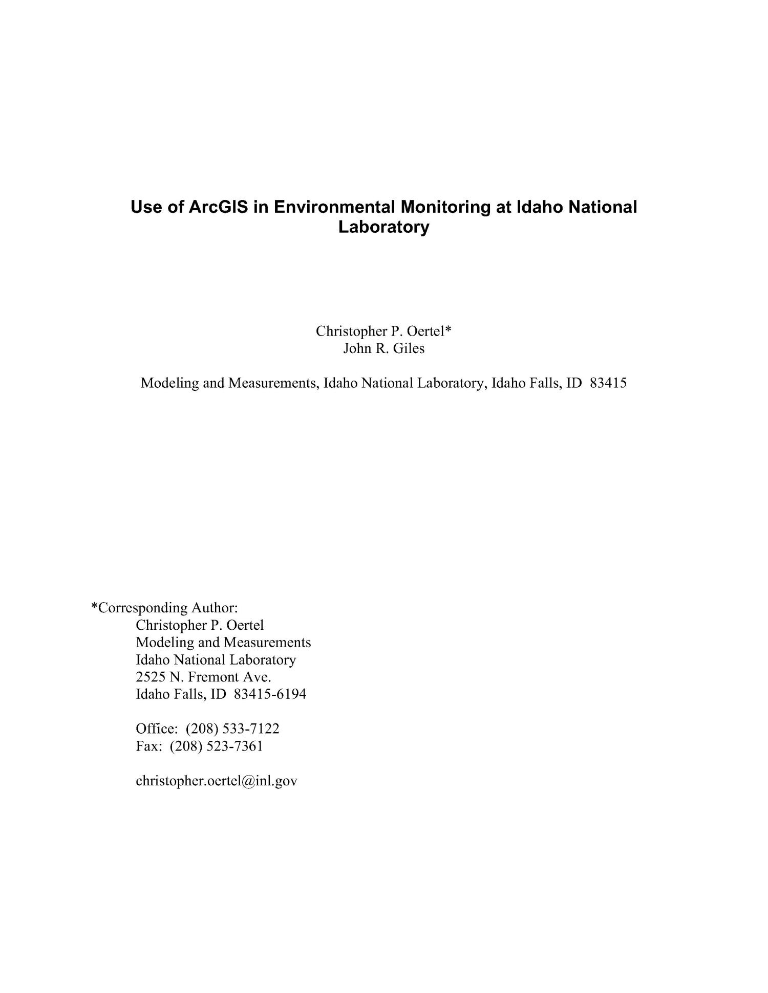 Use of ArcGIS in Environmental Monitoring at Idaho National Laboratory                                                                                                      [Sequence #]: 2 of 18