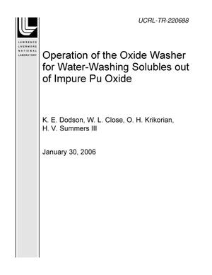 Primary view of object titled 'Operation of the Oxide Washer for Water-Washing Solubles out of Impure Pu Oxide'.