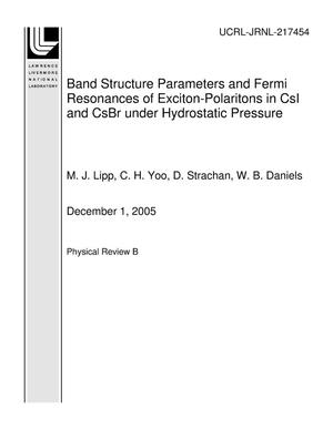 Primary view of object titled 'Band Structure Parameters and Fermi Resonances of Exciton-Polaritons in CsI and CsBr under Hydrostatic Pressure'.