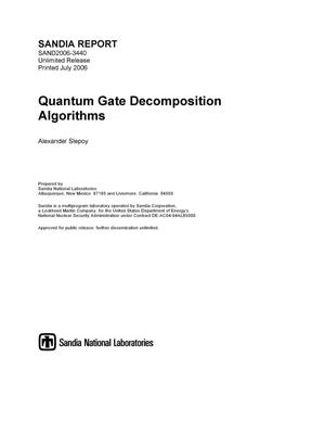 Primary view of object titled 'Quantum gate decomposition algorithms.'.