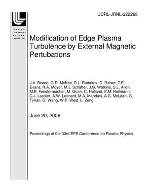 Primary view of object titled 'Modification of Edge Plasma Turbulence by External Magnetic Pertubations'.