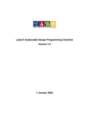 Primary view of object titled 'Labs21 sustainable design programming checklist version 1.0'.