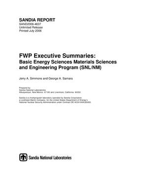 Primary view of object titled 'FWP executive summaries: basic energy sciences materials sciences and engineering program (SNL/NM).'.