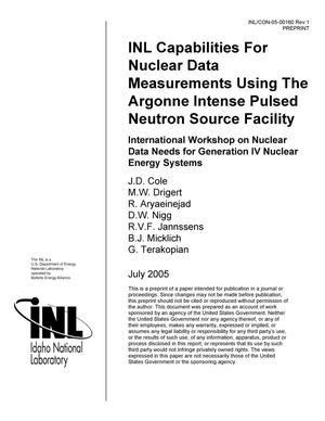 Primary view of object titled 'INL Capabilities For Nuclear Data Measurements Using The Argonne Intense Pulsed Neutron Source Facility'.