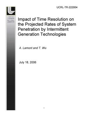 Primary view of object titled 'Impact of Time Resolution on the Projected Rates of System Penetration by Intermittent Generation Technologies'.