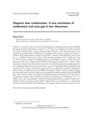 Primary view of object titled 'Magnetic Bion Condensation: A New Mechanism ofConfinement and Mass Gap in Four Dimensions'.