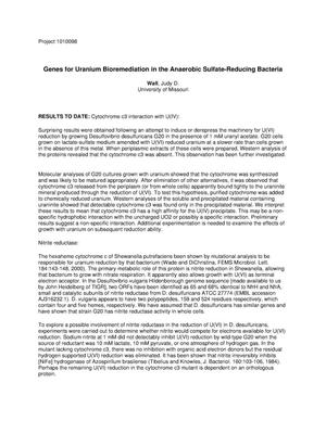 Primary view of object titled 'Genes for Uranium Bioremediation in the Anaerobic Sulfate-Reducing Bacteria'.