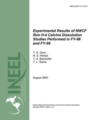 Primary view of object titled 'Experimental Results of NWCF Run H4 Calcine Dissolution Studies Performed in FY-98 and -99'.