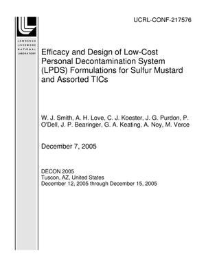 Primary view of object titled 'Efficacy and Design of Low-Cost Personal Decontamination System (LPDS) Formulations for Sulfur Mustard and Assorted TICs'.