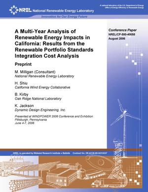 Primary view of object titled 'Multi-Year Analysis of Renewable Energy Impacts in California: Results from the Renewable Portfolio Standards Integration Cost Analysis; Preprint'.