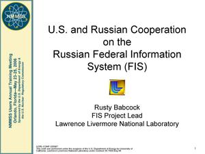 Primary view of object titled 'U.S. and Russian Cooperation on the Russian Federal Information System (FIS)'.
