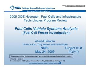 Primary view of object titled 'Fuel Cells Vehicle Systems Analysis (Fuel Cell Freeze Investigation)'.