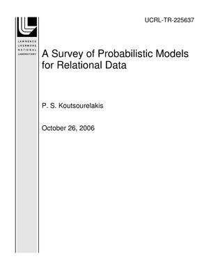 Primary view of object titled 'A Survey of Probabilistic Models for Relational Data'.