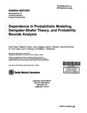 Primary view of object titled 'Dependence in probabilistic modeling, Dempster-Shafer theory, and probability bounds analysis.'.