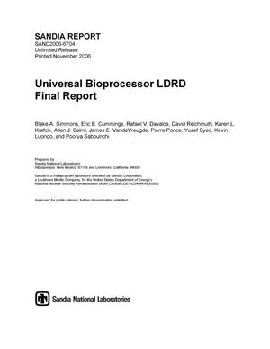 Primary view of object titled 'Universal bioprocessor LDRD final report.'.