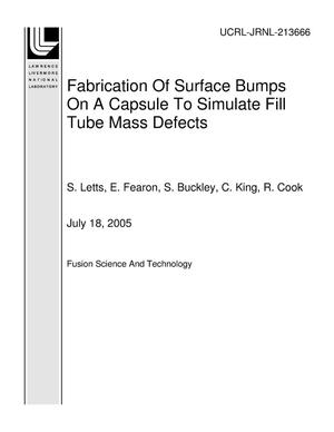 Primary view of object titled 'Fabrication Of Surface Bumps On A Capsule To Simulate Fill Tube Mass Defects'.