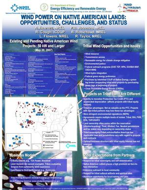 Primary view of object titled 'Wind Power on Native American Lands: Opportunities, Challenges, and Status (Poster)'.