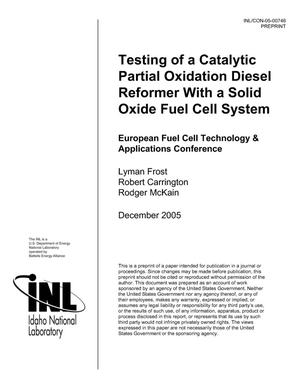 Primary view of object titled 'Testing of a Catalytic Partial Oxidation Diesel Reformer with a Solid Oxide Fuel Cell System'.