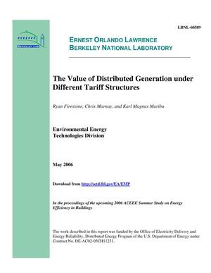 Primary view of object titled 'The Value of Distributed Generation under Different TariffStructures'.