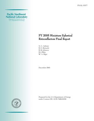 Primary view of object titled 'FY 2005 Miniature Spherical Retroreflectors Final Report'.