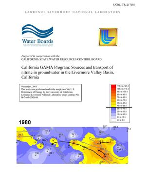 Primary view of object titled 'California GAMA Program: Sources and Transport of Nitrate in Groundwater in the Livermore Valley Basin, California'.
