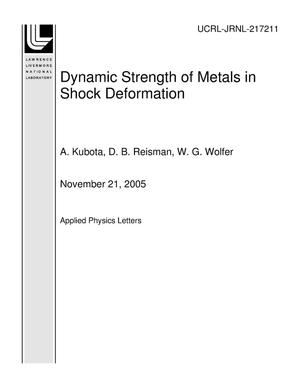 Primary view of object titled 'Dynamic Strength of Metals in Shock Deformation'.