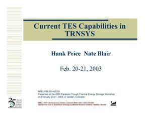 Primary view of object titled 'Current TES Capabilities in TRNSYS (Presentation)'.