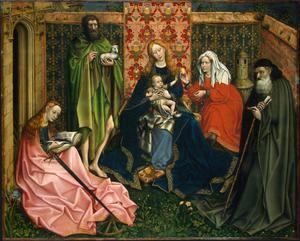 Primary view of object titled 'Madonna and Child with Saints in an Enclosed Garden'.
