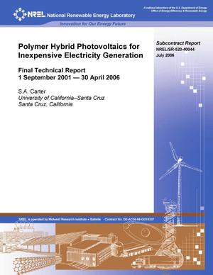 Primary view of object titled 'Polymer Hybrid Photovoltaics for Inexpensive Electricity Generation: Final Technical Report, 1 September 2001--30 April 2006'.