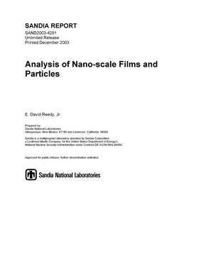 Primary view of object titled 'Analysis of nano-scale films and particles.'.