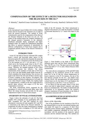 Primary view of object titled 'Compensation of the Effect of a Detector Solenoid on the Beam Size in the ILC'.