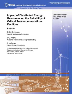 Primary view of object titled 'Impact of Distributed Energy Resources on the Reliability of Critical Telecommunications Facilities: Preprint'.